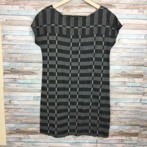 Lou & Grey Black & Gray plaid print shift dress